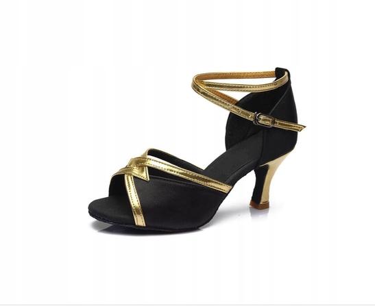Czarne buty do tańca latino z eko skóry 5/7 cm