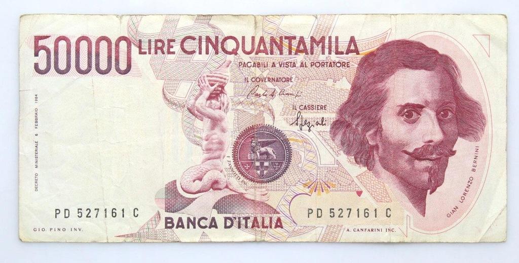 BANKNOT - Włochy - 50000 Lir 1984