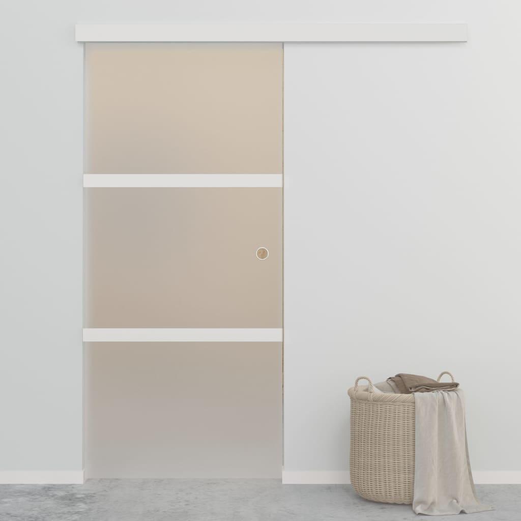 Drzwi przesuwne, szkło ESG i aluminium, 90x205 cm,