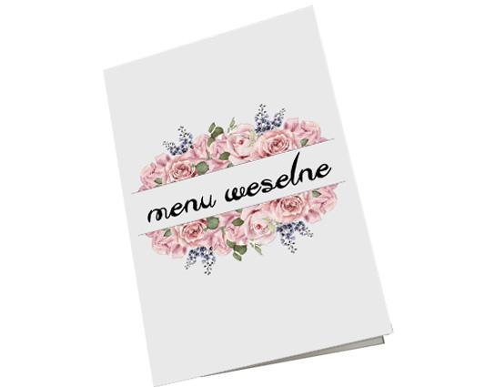 Menu ślubne weselne karta dań na stół róże