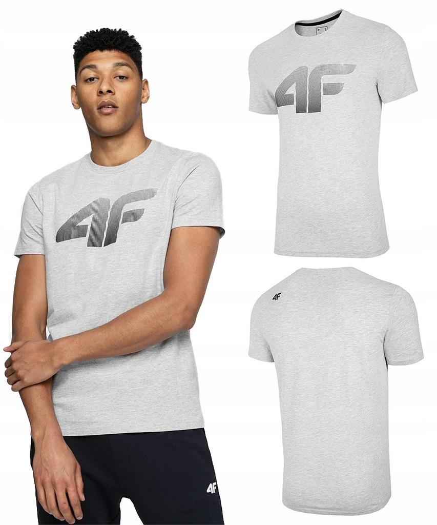4F T-shirt KOSZULKA Męska TSM004 Bawełna SZARA XXL