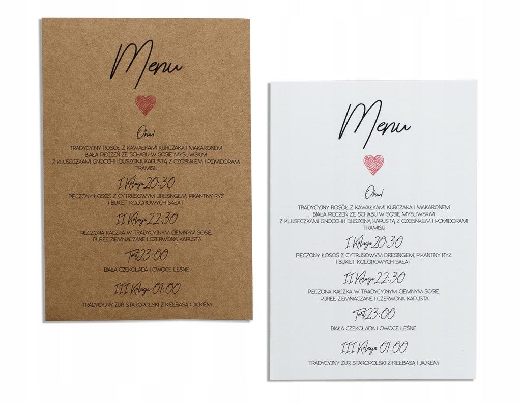 Menu weselne na wesele karta dań drinków ślub eko