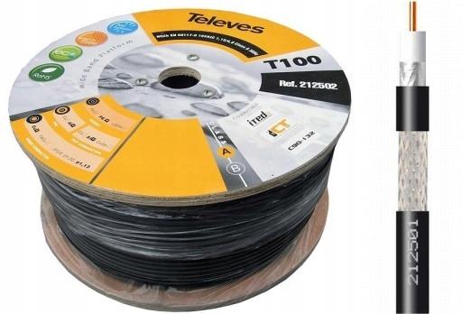 Kabel Antenowy Czarny Televes T100 z MIEDŹ 1m 2125