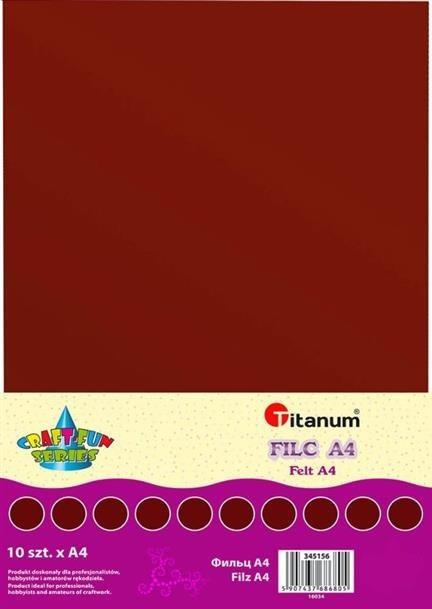 Filc dekoracyjny, 10ark format A4 brąz, CRAFT-FUN