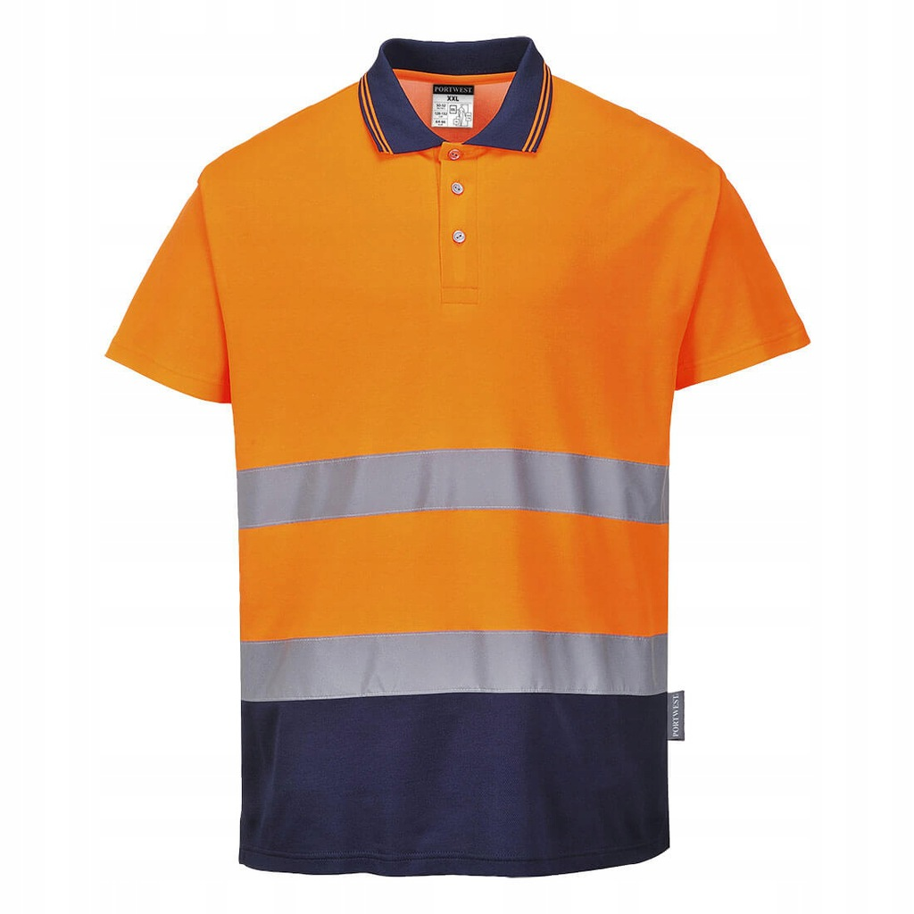 Koszulka polo Comfort Granat Pomarańcz M