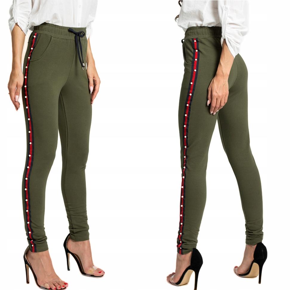 Spodnie dresy lampasy perełki cotton F01 KHAKI S