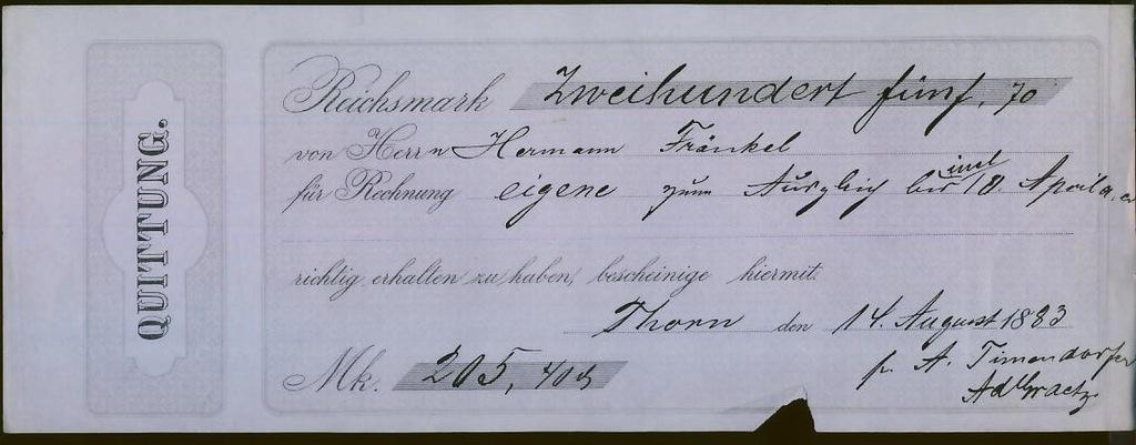 Quittung - 1883 r Thorn / H. Frankel