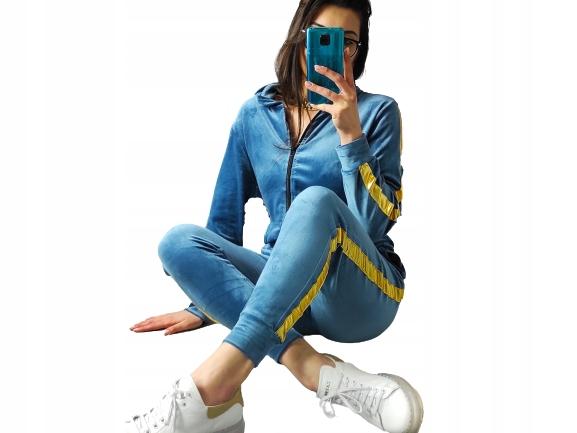 Niebieskie welurowe dresy złoty lampas komplet M/L