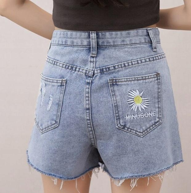 jeansowe spodenki szorty strzępione haft M/L