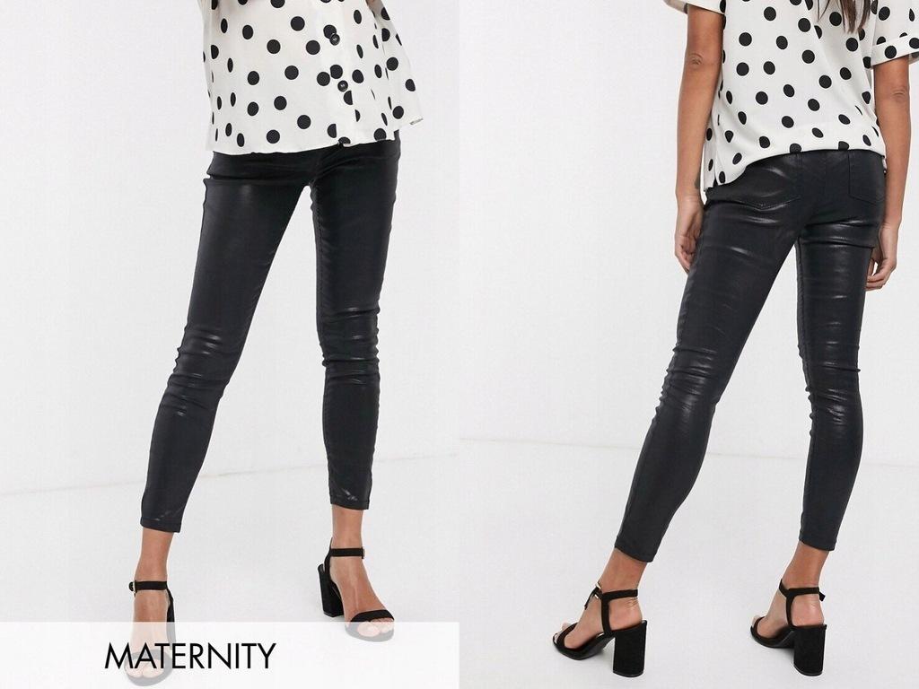 DESIGN czarne woskowane spodnie ciążowe 34