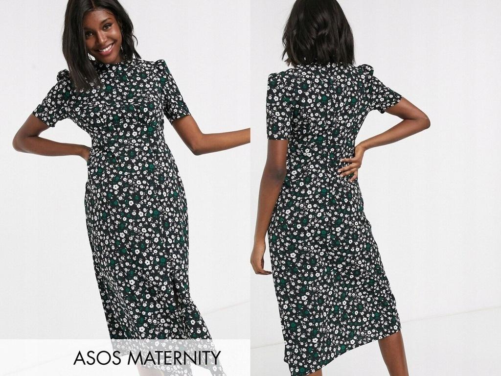 DESIGNMaternity Czarna Sukienka Midi Kwaity 48