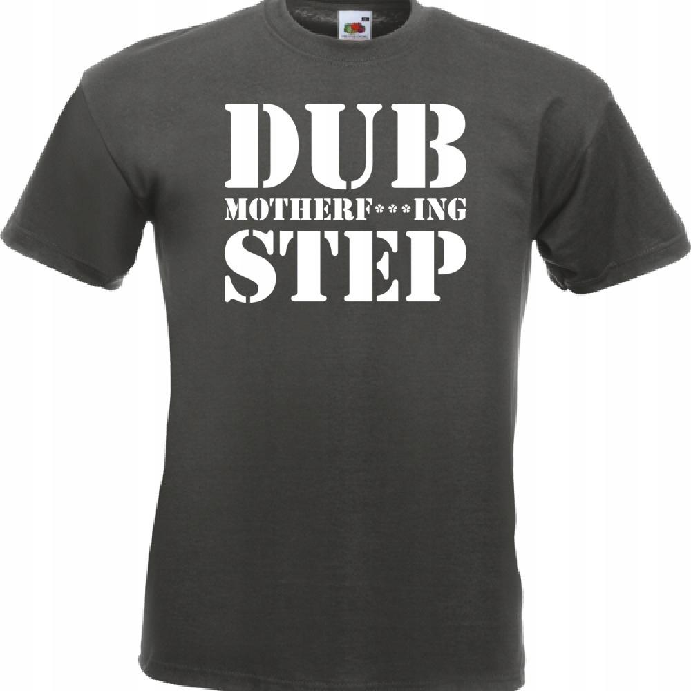 Koszulka z nadrukiem dubstep dub XL grafitowa
