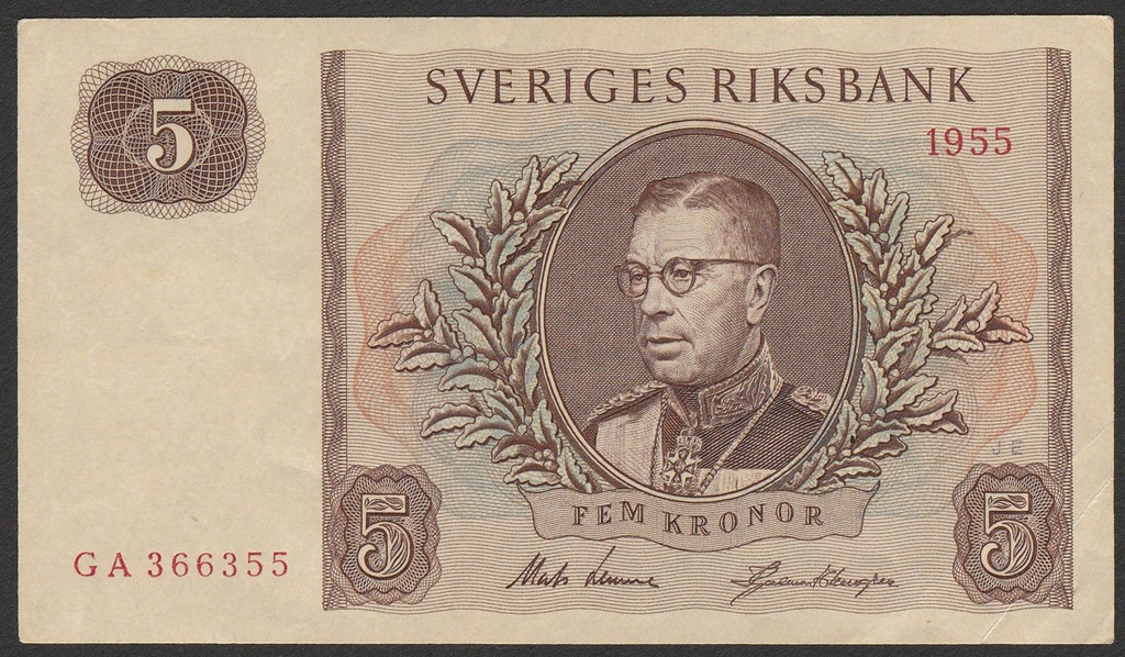 Szwecja - 5 koron - 1955 - Gustaw VI Adolf