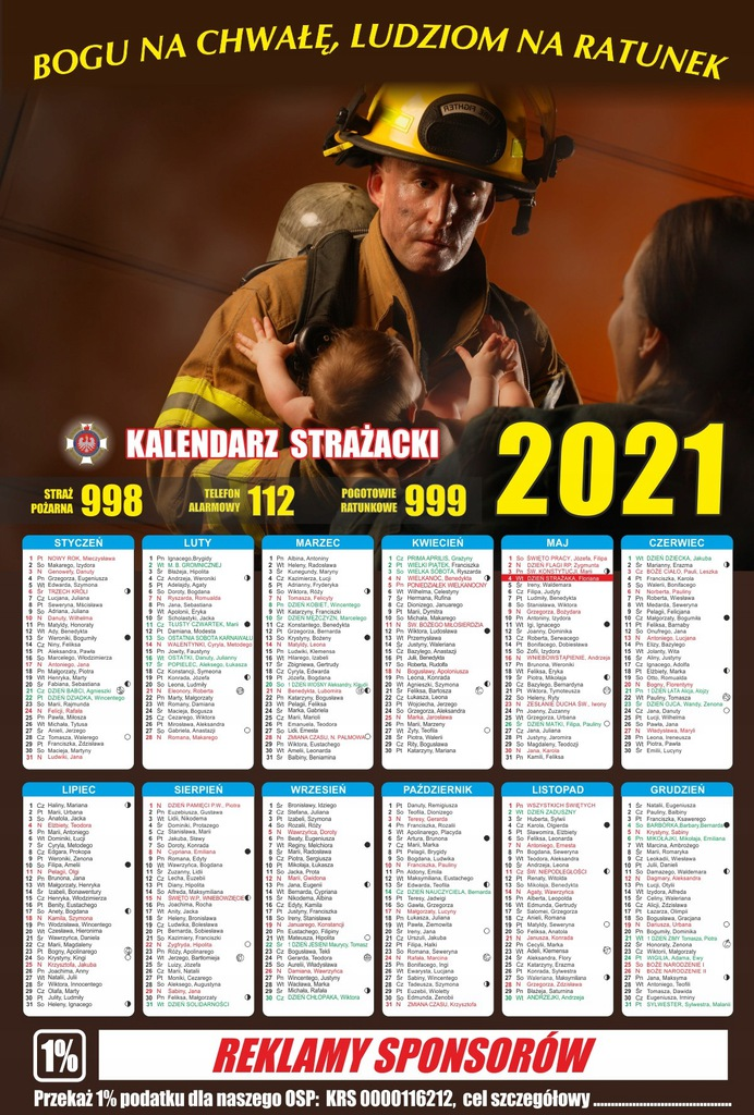 Kalendarze strażackie jednostronne A3+ 200 szt.