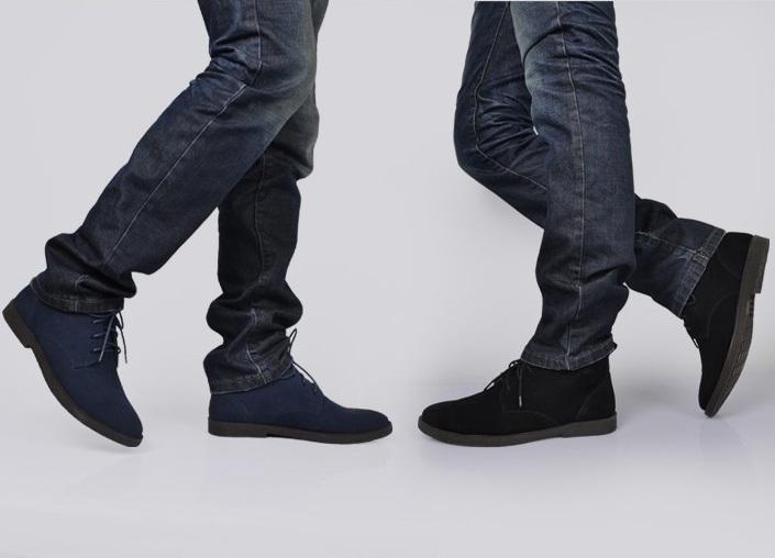 buty czasrne zamszowe za kostke męskie