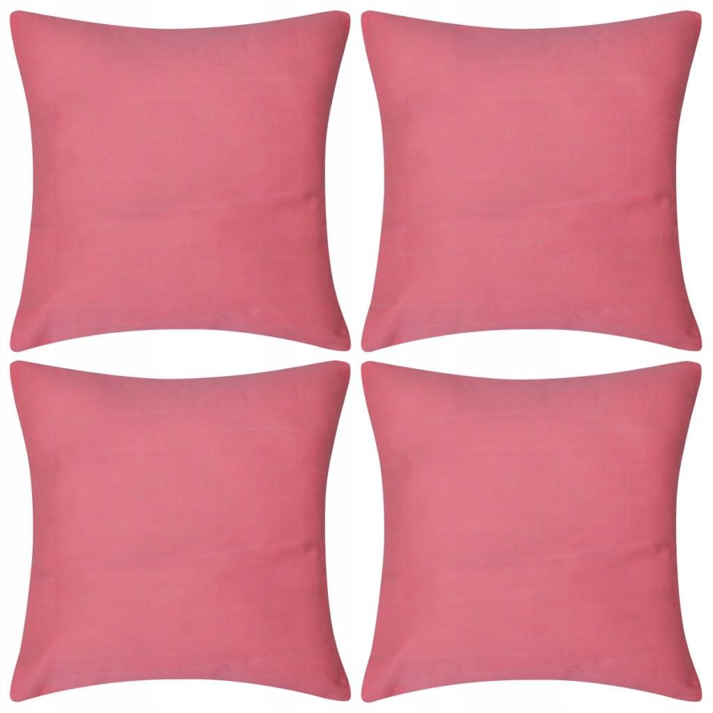 4 Różowe bawełniane poszewki na poduszki 50 x 50 c