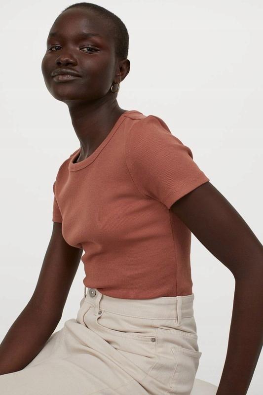 rdzawo-brązowy prążkowany tshirt top basic H&M