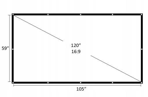 EKRAN PROJEKCYJNY FULL HD 16:9 120 CALI 266 x 150