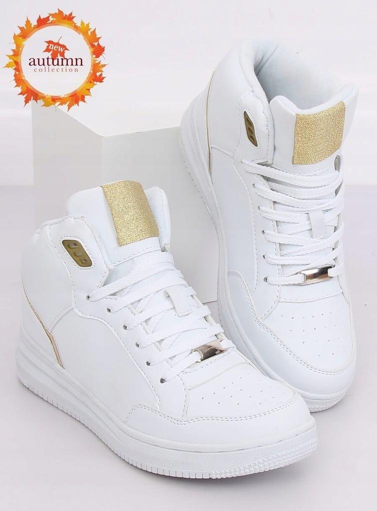 buty trampki NIKE za kostkę białe złote aplikacje w Sportowe