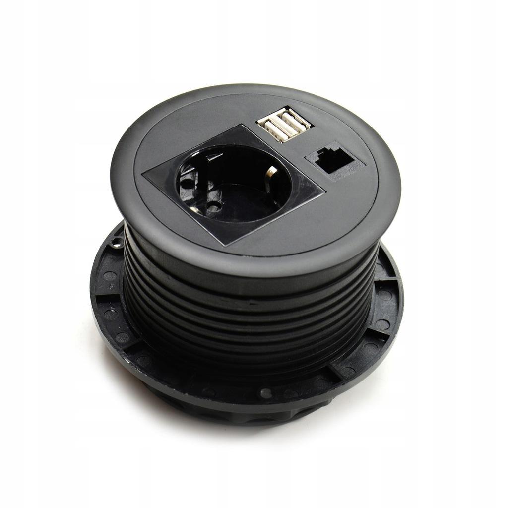 Gniazdo meblowe okrągłe ładowarka USB, RJ-45, 230V