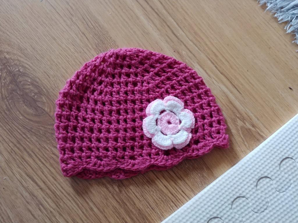 cudna czapeczka wiosna ażur roz.46 j.NOWA 1-6m