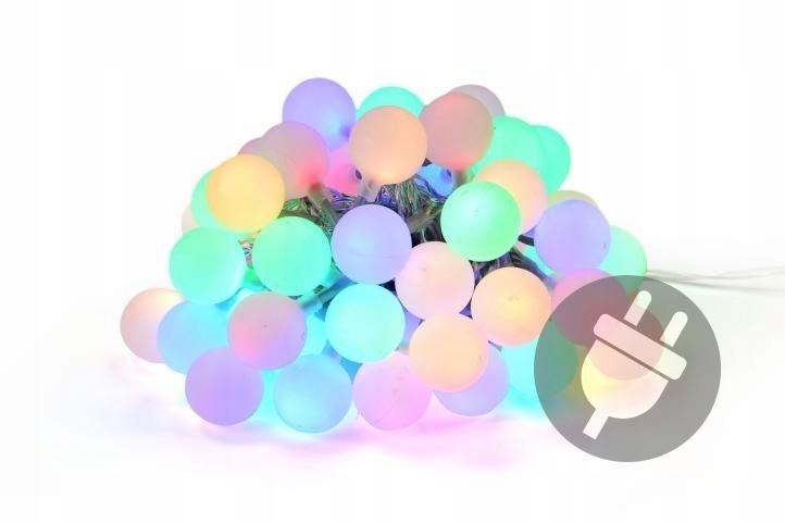Lampki ogrodowe 50 LED, pastelowe kolorowe kulki d