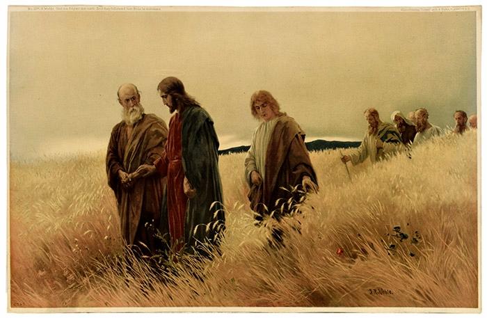Ok.1900r J.Wehle 'Jezus na polu pszenicy' 56x36 cm