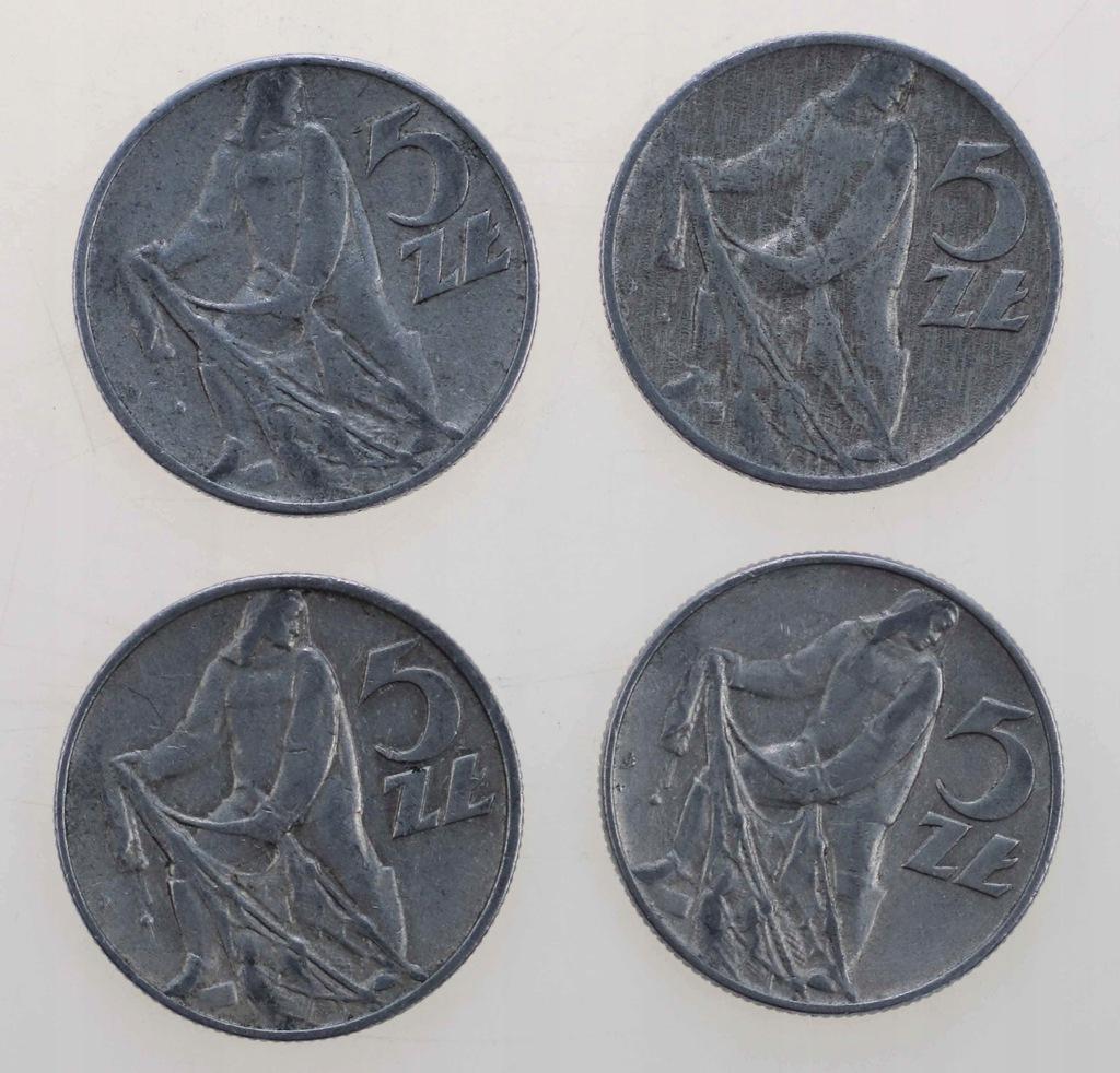 5 zł rybak 1959-1x, 1973-1x, 1974-2x, razem 4 szt.