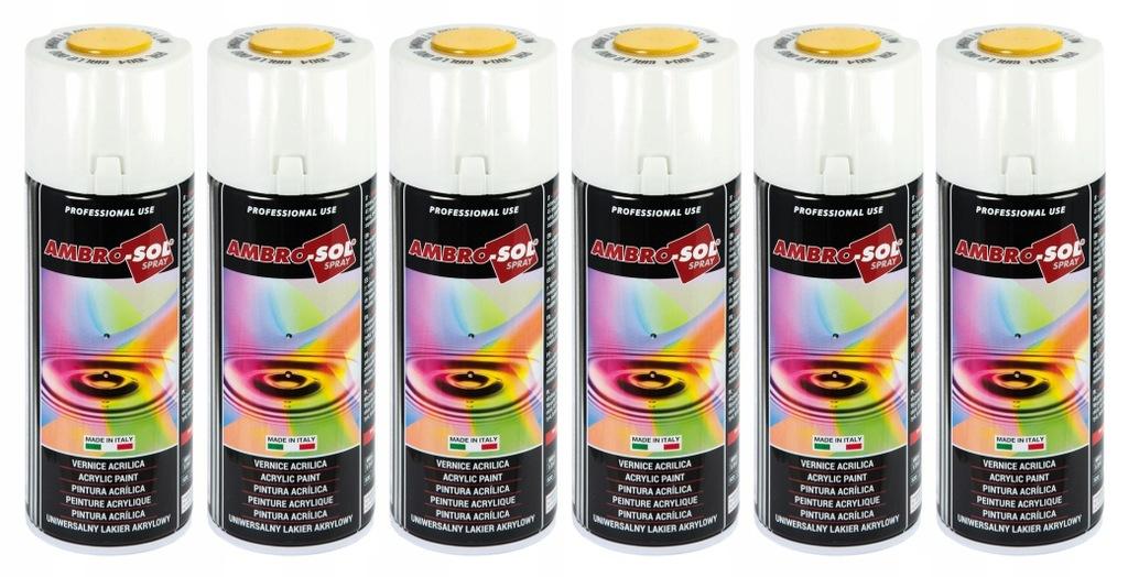 Lakier akrylowy złoty AMBRO SOL spray 6 sztuk