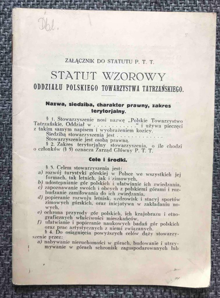 Statut Polskie Towarzystwo Tatrzańskie Kraków 1935