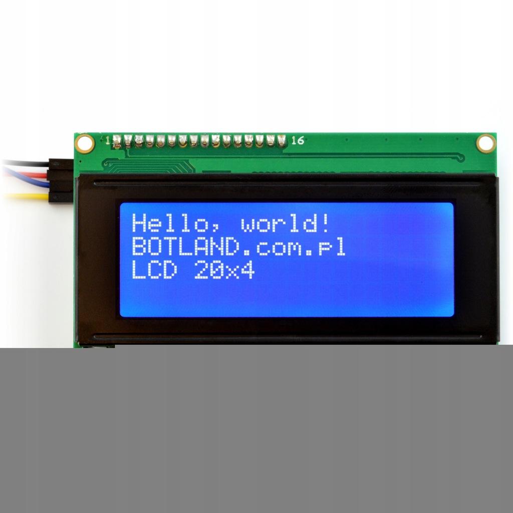 Wyświetlacz LCD 4x20 znaków niebieski + konwerter