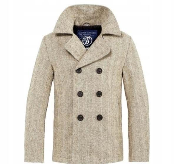 BRANDIT Płaszcz Męski Pea Coat M kolor beżowy