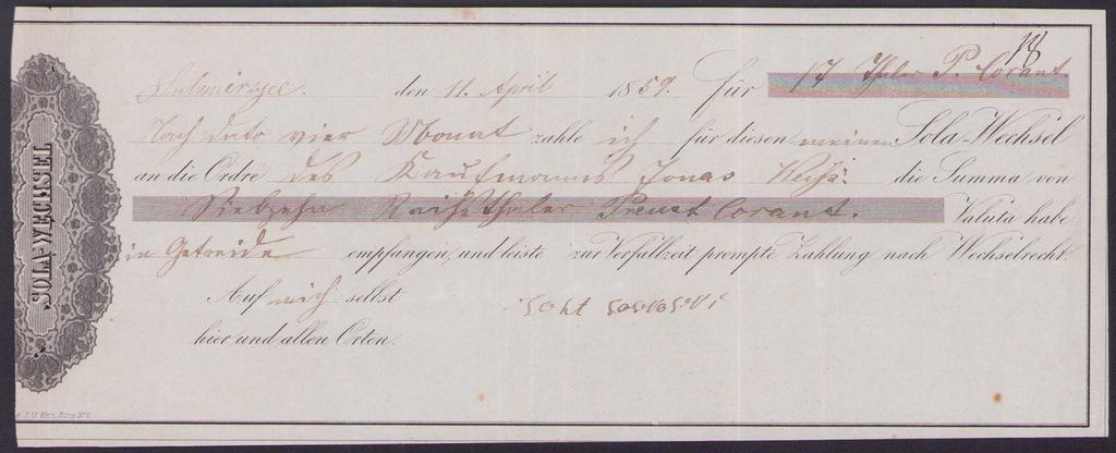SOLA WECHSEL - Sulmierzyce 11 April 1859 rok