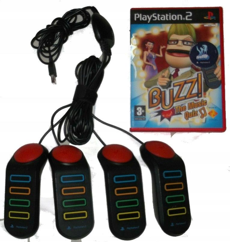 OFIC. KONTROLERY BUZZ BUZZERY PS2 + GRA MUSIC QUIZ