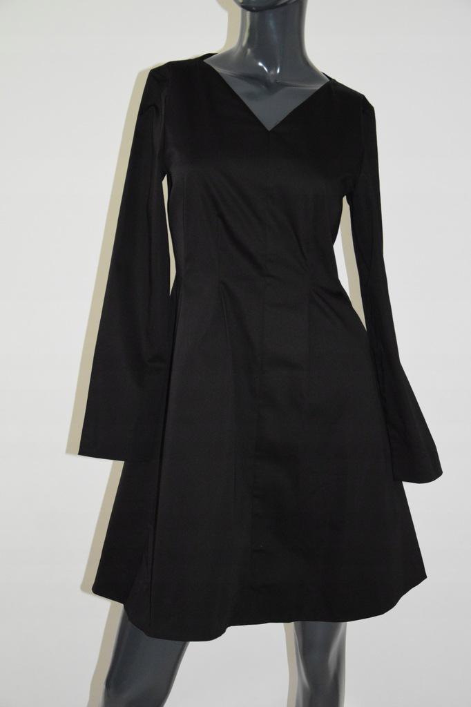 cos taliowana czarna sukienka bawełna S/M