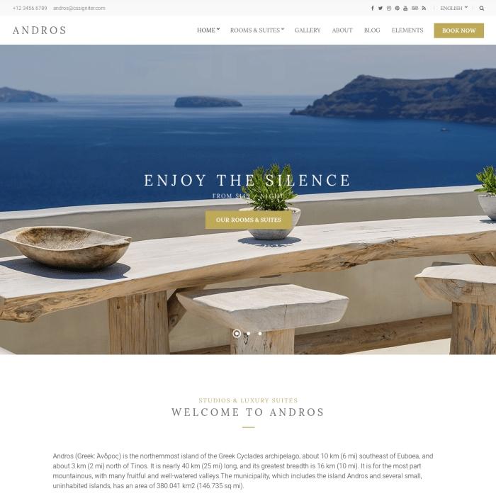 Szablon Andros Hotel WordPressTheme