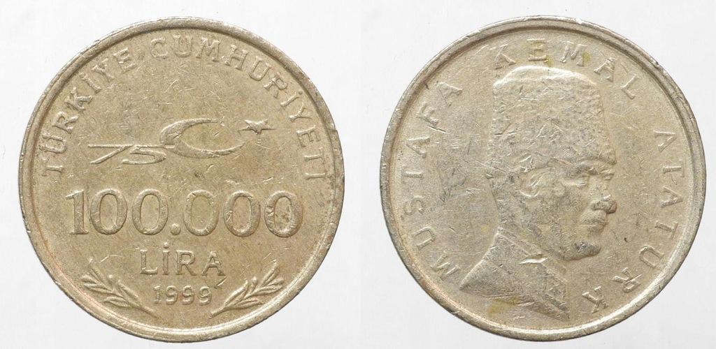 117. TURCJA 100 000 LIRÓW 1999