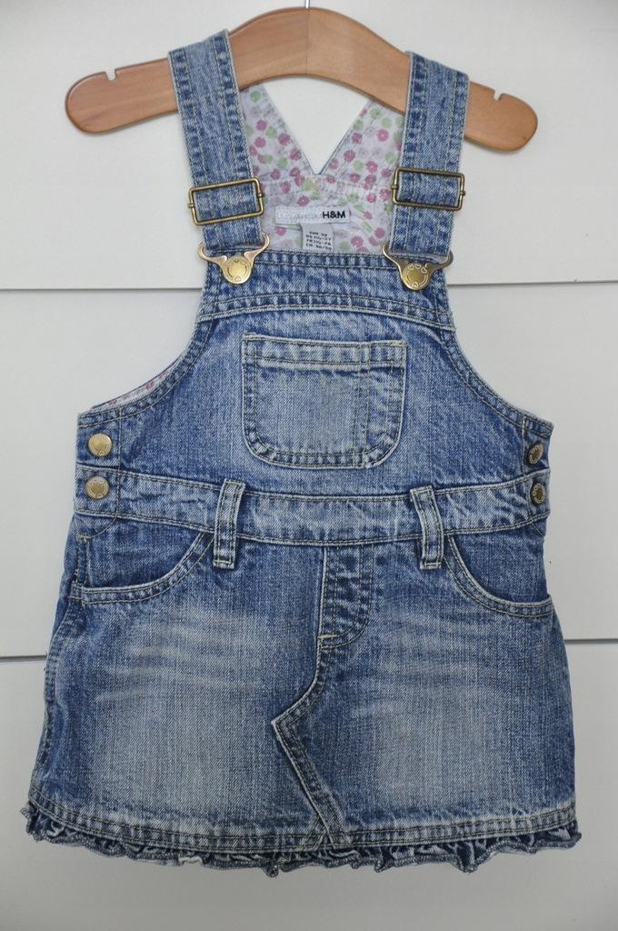 jeansowa ogrodniczka H&M sukienka 86-92 GRATIS