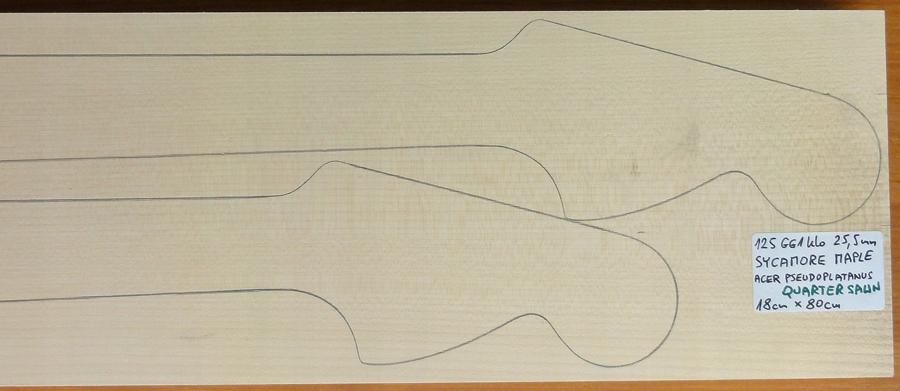 Drewno KLON na 2 gryfy Strat, 25.5mm