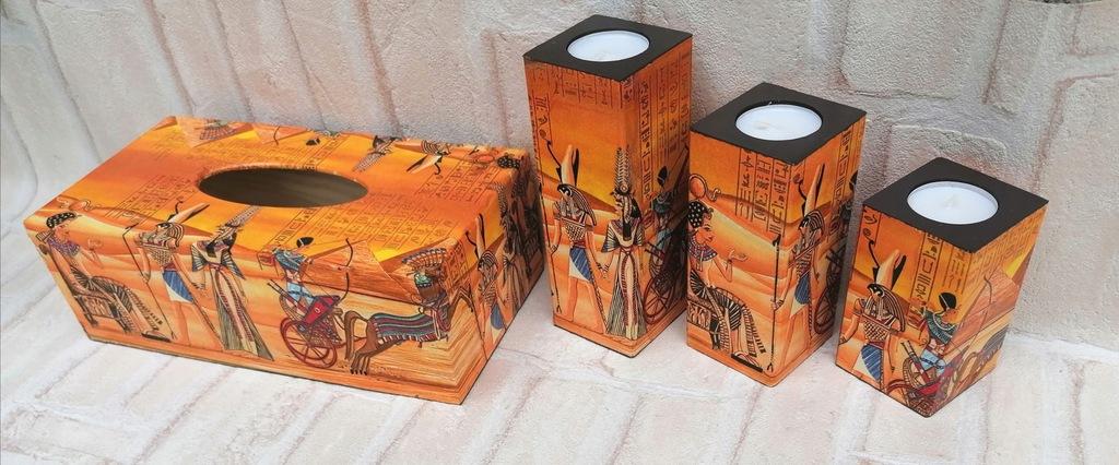 Chustecznik + świeczniki chusteczki Afryka Egipt