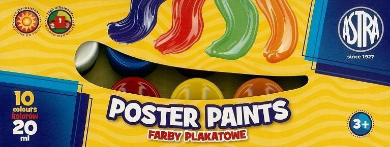 Farby plakatowe 10 kolorów 20ml ASTRA