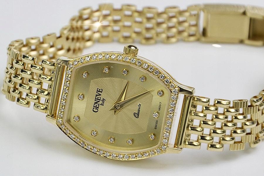 Prześliczny 14k złoty damski zegarek Geneve 585