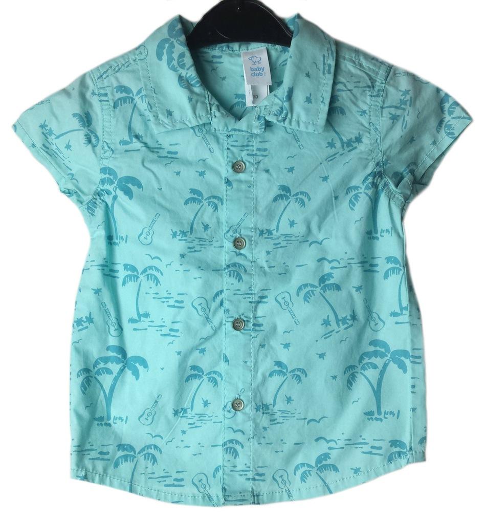 C&A Koszula miętowa w palmy krótki rękaw 80