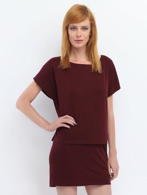 Top Secret drywash sukienka bordowa lato S/M