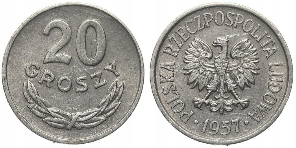 225.Polska - PRL - 20 groszy - 1957 - St.2 #A