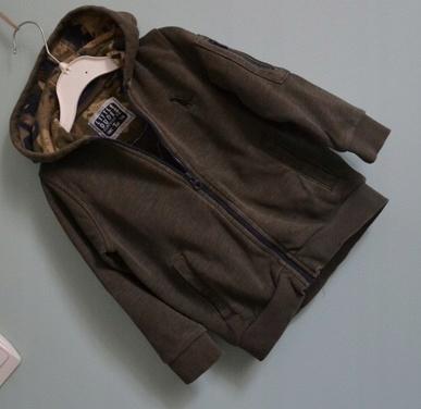 Bluza 74 80 bawełna kaptur zamek khaki chłopca