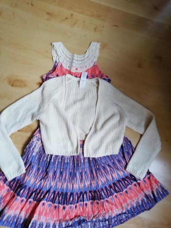 sukienka z bolerkiem sweterkiem 158