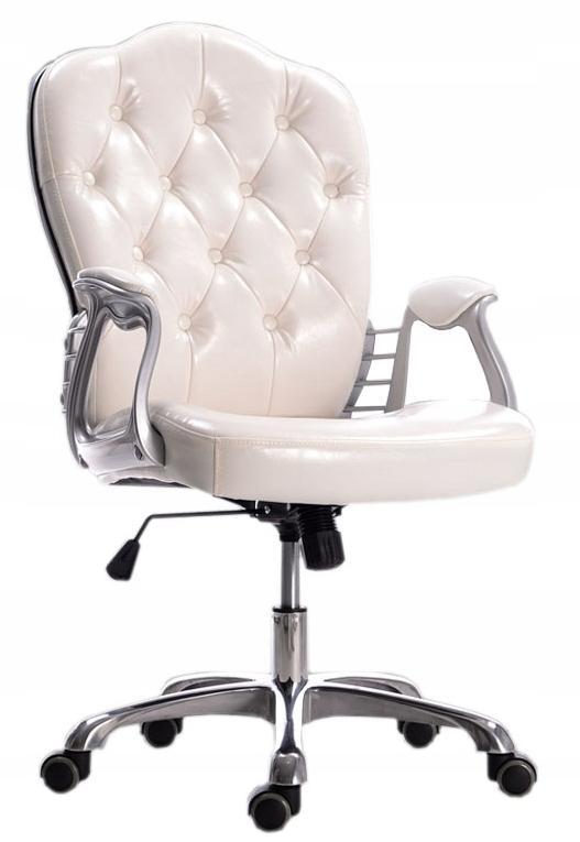 LUKSUSOWE krzesło obrotowe FOTEL do biura BIAŁE 7744573261