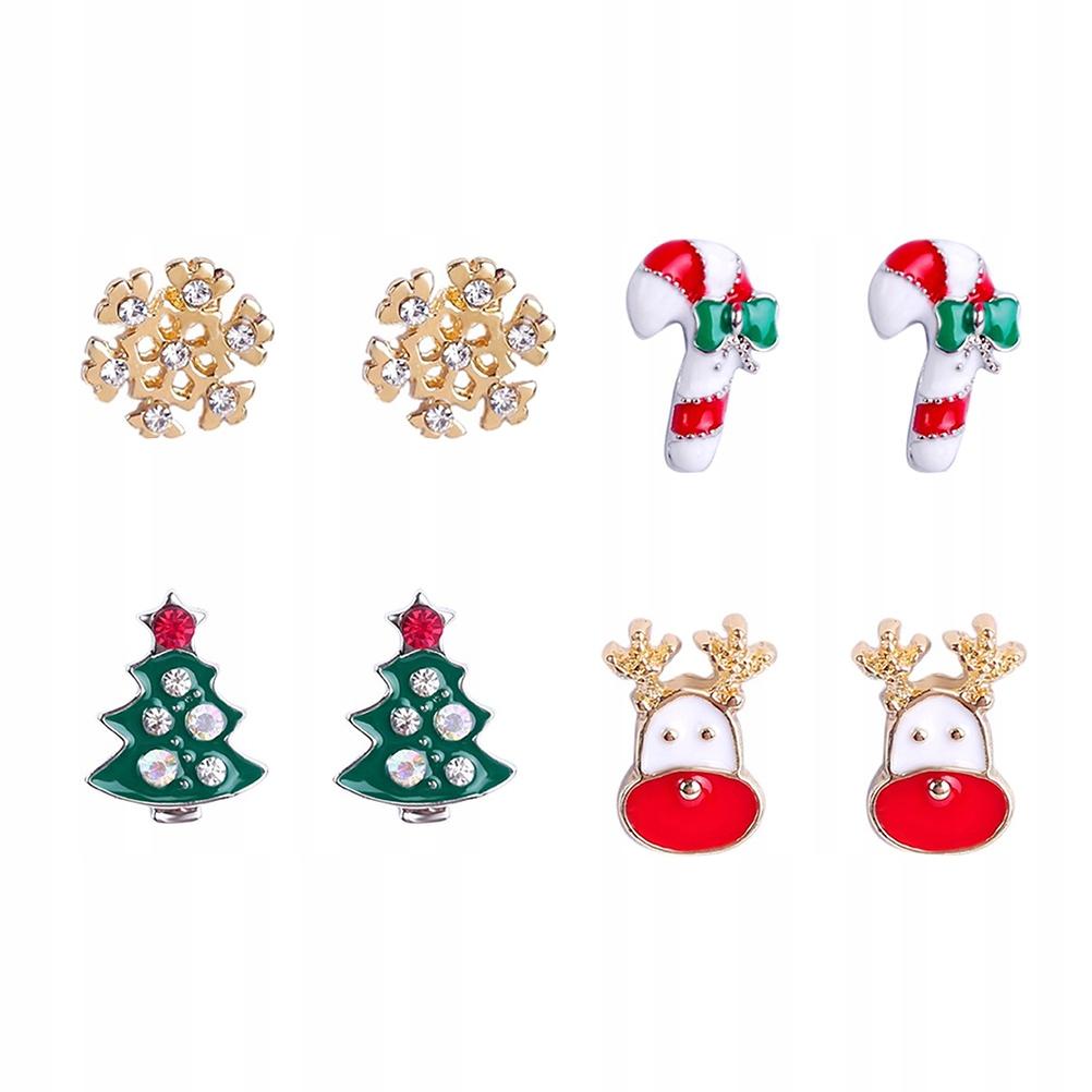 4 pary Motyw bożonarodzeniowy Kolczyki sztyfty Świ