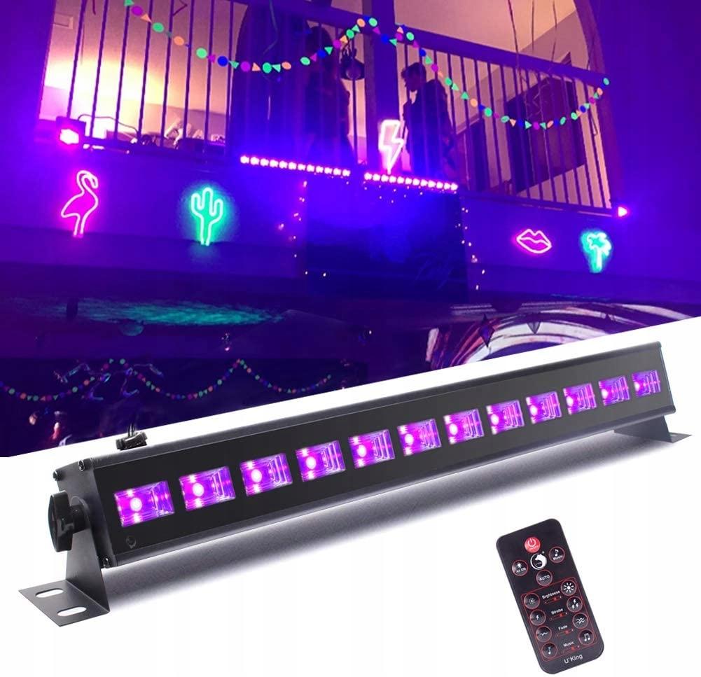 Czarne światło LED 9 x 3 W UV LED bar z pilotem